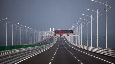 A section of the Hong Kong-Zhuhai-Macau Bridge (HZMB), which is due to open in July.