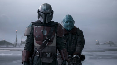 Pedro Pascal and Horatio Saenz in a scene from The Mandalorian.