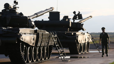 Troops prepare for a live demonstration of Russian battle tanks at the Army 2018 expo in Kubinka, Russia.
