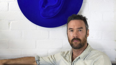 Sculptor Brad Gunn with work 'Listen (Blue)'.
