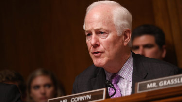 Senator John Cornyn, a Republican from Texas, speaks during a Senate Judiciary Committee hearing with William Barr.