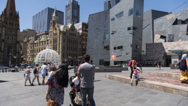 Federation Square on Christmas Eve, 2016, after the terror plot was foiled.