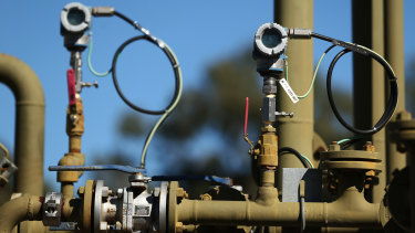 Pressure transmitters display readings on a Santos Ltd. pilot well operating in the Pilliga forest in Narrabri, Australia