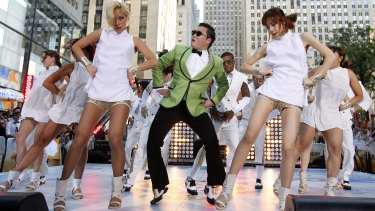 """South Korean rapper PSY performs his massive hit """"Gangnam Style"""" in New York."""