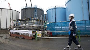 An employee at the tsunami-crippled Fukushima nuclear power plant.