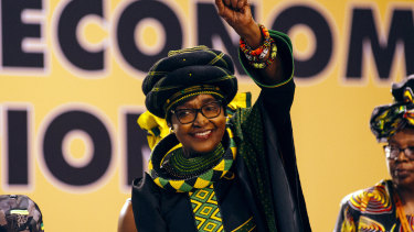 Winnie Madikizela-Mandela pictured greeting the audience during the 54th national conference of the African National Congress party (ANC) in Johannesburg in December, 2017.