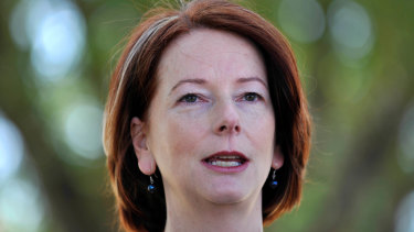 """""""She grunted her assent"""": Mr Rudd says Julia Gillard, then his deputy, begrudgingly supported the government's action against the forgery."""