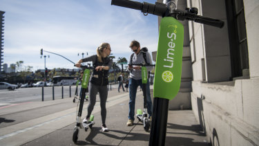 LimeBike\'s electric scooters are widespread through the US.