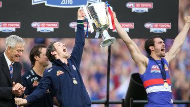 Easton Wood and Robert Murphy celebrate in 2016.