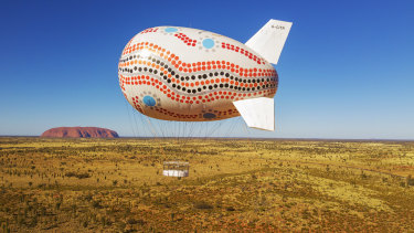 Flying high: The Skyship Uluru in operation.