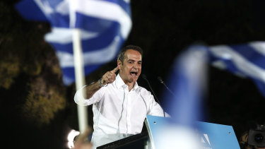Kyriakos Mitsotakis, leader of the New Democracy party, speaks during a pre-election rally in Athens.