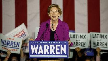 Senator Elizabeth Warren in California on Super Tuesday.