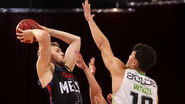 Jock Landale of Melbourne United starred for the team in their game three win over South East Melbourne Phoenix.