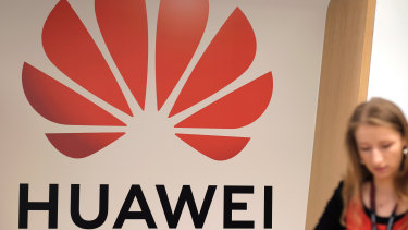 A logo sits on display during the opening of the Huawei Cyber Security Transparency Centre in Brussels.