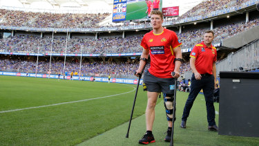 Matt Rowell after suffering a partial PCL tear at Optus Stadium in round one.