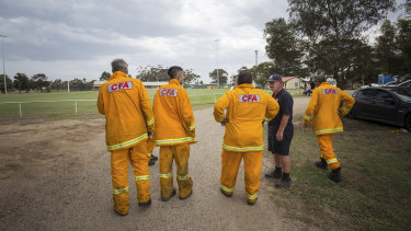 CFA volunteers at Little River Reserve, the staging area for the fire.