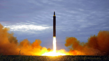 A Hwasong-12 intermediate-range missile is fired in North Korea in 2017.