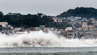 Hagibis approaches: Waves break on the shore in Fujisaw, Kanagawa Prefecture.