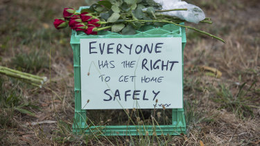 An emphatic message sat alongside flowers left in tribute to Ms  Masarwe on Thursday morning.