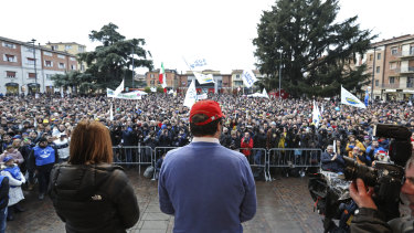 Matteo Salvini, leader of the League party, center, speaks during a campaign rally in Emilia Romagna.