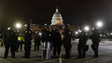 Police outside the Capitol on Wednesday evening.