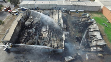 Bradbury Industrial Services' Campbellfield factory in the days after the April 2019 fire.