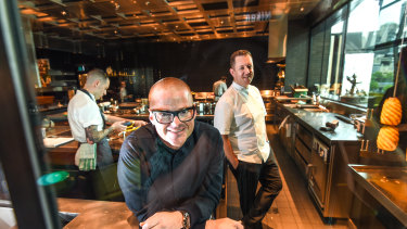Dinner by Heston restaurant in Melbourne. Heston Blumenthal with chef director Ashley Palmer-Watts.