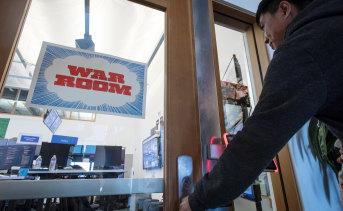 Entering the election 'War Room' at Facebook's headquarters in Menlo Park, California.