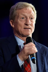 Democratic presidential candidate Tom Steyer announces the end of his presidential campaign following the results of the South Carolina primary.