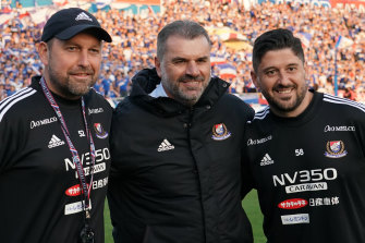 Ange Postecoglou with his Australian assistants at Yokohama F. Marinos, Peter Cklamovski (left) and Arthur Papas.