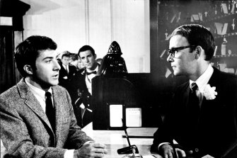 Dustin Hoffman and Buck Henry in The Graduate, which Henry adapted for the screen.