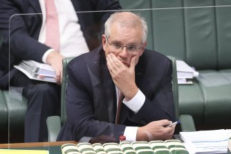 Prime Minister Scott Morrison during Question Time in Canberra on Monday.