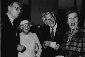 Sir Ninian Stephen, Lady Stephen, Bob Hawke and a Gregarious Hazel Hawke enjoy tea after the function in the great hall.