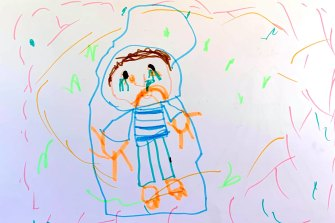 Jemima, 5, drew a person with COVID-19 crying in bed.