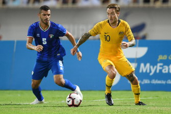 Socceroo Adam Taggart is among seven Australian players tied to South Korean clubs.