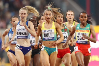 Australia's Jessica Hull (centre) says she had no contact with now-banned Nike Oregon Project coach Alberto Salazar.