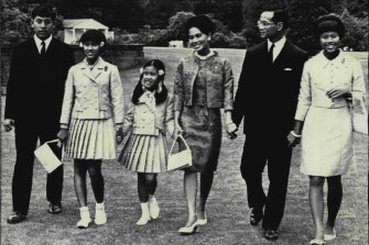 The Thai royal family in 1966 in England, from left: Prince Vajiralongkorn, Princess Sirindhorn, 11, Princess Chulabhorn, 9, Queen Sirikit, King Bhumibol and Princess Ubolratana.