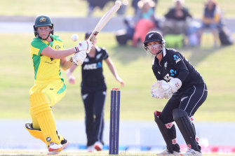 Meg Lanning in action with the willow against the New Zealand White Ferns at Bay Oval.
