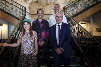 Ella Hooper, Isaiah Firebrace, Health Minister Martin Foley and Creative Industries Minister Danny Pearson at The Espy on Wednesday.