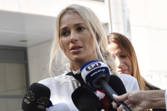 Macris' wife, Viktoria Karyda, wept outside the court after the sentence was delivered.