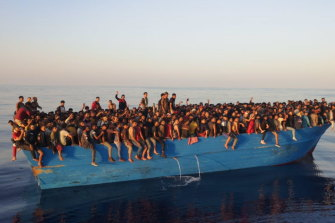 More than 500 migrants were found crammed into one boat off the Italian island of Lampedusa.