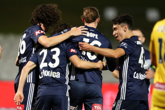 Marco Rojas (No.23) celebrates his goal for Melbourne Victory.
