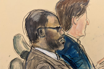 A courtroom sketch of R. Kelly, left, on the opening day of his trial.