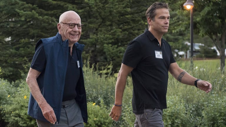 Rupert Murdoch with his son and successor, Lachlan, last month.