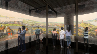 An artist's impression of the new multimedia immersive experience that will provide a new interpretation of the convict experience at the Hyde Park Barracks when it reopens in December.