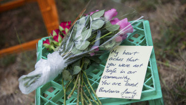 Monique Hanley laid flowers and a note where Ms Maasarwe's body was found.