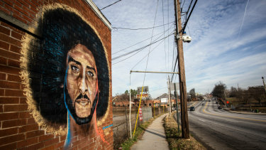 A mural depicting former NFL quarterback Colin Kaepernick in Super Bowl host city Atlanta.