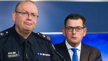 Police Chief Commissioner Graham Ashton and Premier Daniel Andrews in 2017.