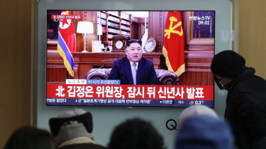 Kim Jong-un's New Year address, as seen at a railway station in Seoul, South Korea.