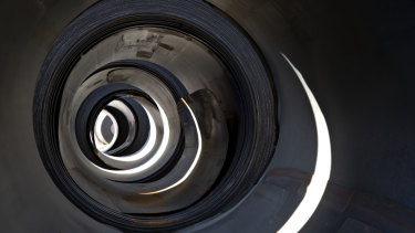 Steel coils sit outside at the US Steel Corp Granite City Works facility in Granite City, Illinois.